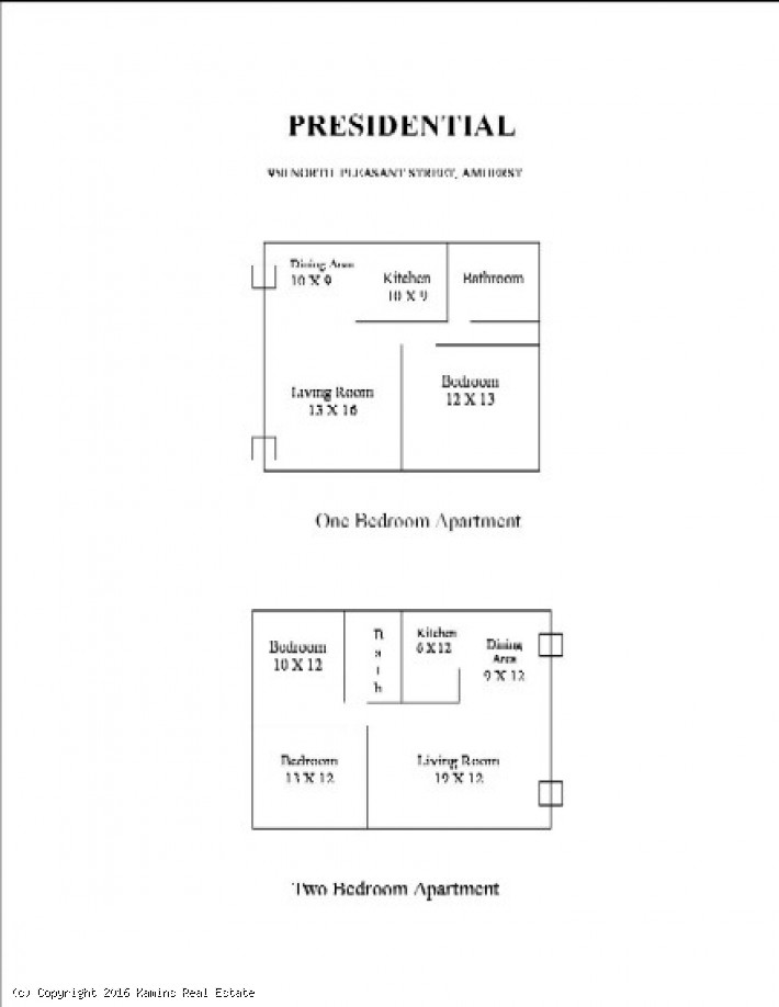 Presidential Apartments:  1 Bedroom